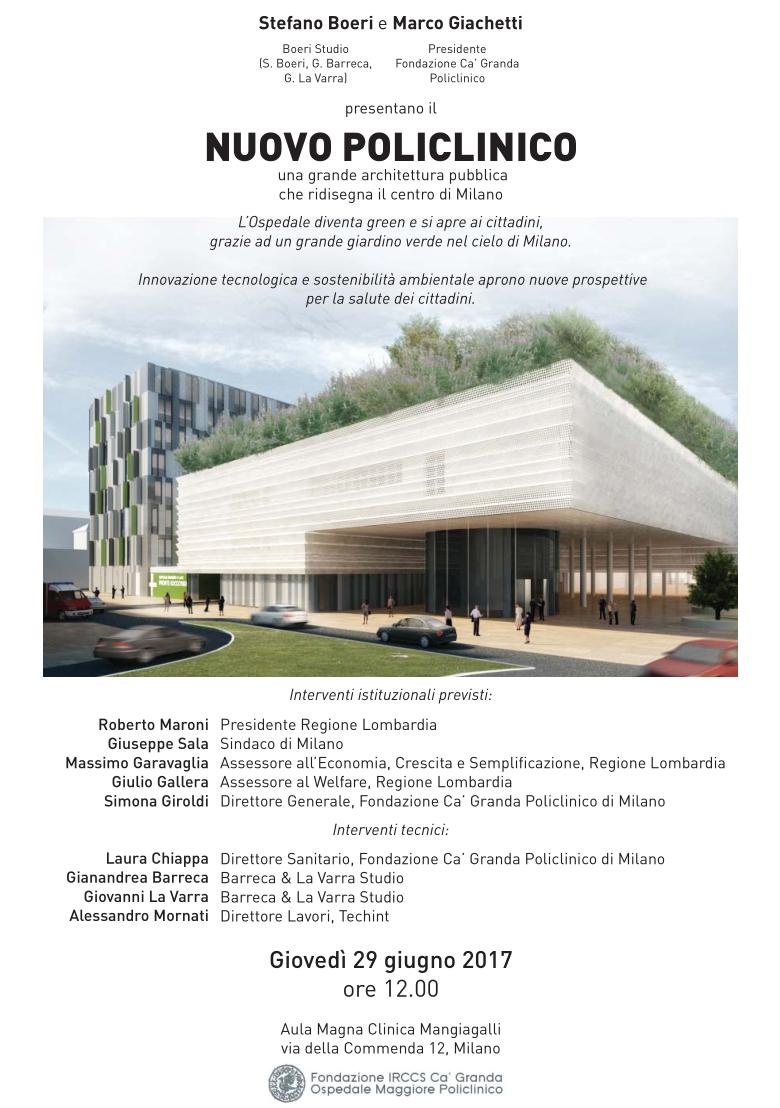 Policlinico di Milano: dopodomani Boeri e Giachetti presentano il nuovo Policlinico, 29 Giugno ore 12.00