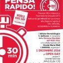"""L'Istituto Dermatologico San Gallicano, in occasione della Giornata Mondiale contro l'AIDS 2016, promuove l'Open Day per la diagnosi rapida su saliva, goccia di sangue e urine di HIV, SIFILIDE, GONORREA E INFEZIONE DA CLAMIDIA. """"Pensa rapido!"""" è lo slogan della giornata: basta dedicare solo 30 minuti del proprio tempo per la prevenzione e diagnosi precoce di HIV e delle principali Infezioni Sessualmente Trasmissibili."""