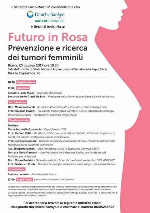 """""""Futuro in Rosa"""". Prevenzione e ricerca dei tumori femminili"""