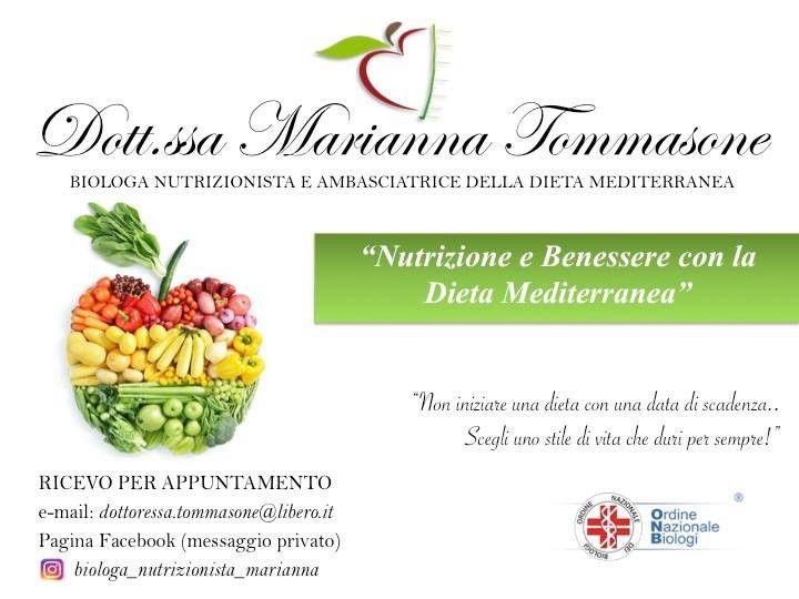 Seguimi anche sulla mia pagina Facebook --> Dott.ssa Marianna Tommasone Biologa Nutrizionista